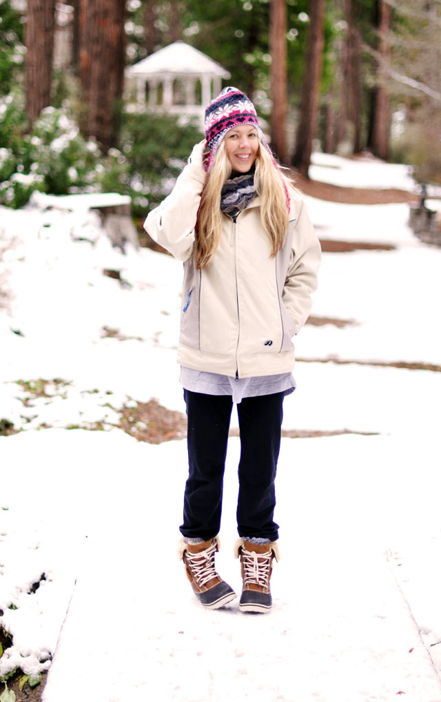 dressed sloppy in the snow