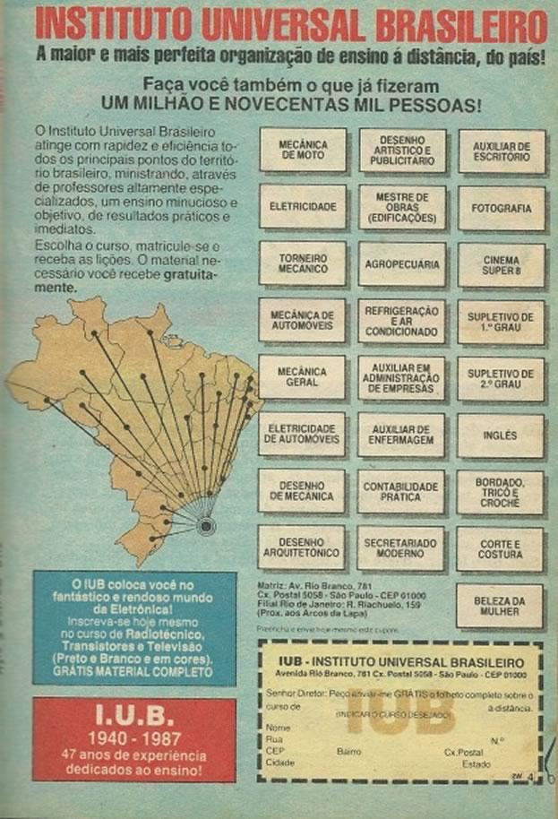 Propaganda do Instituto Universal Brasileiro veiculada em 1987