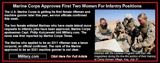 Marine Corps Approves First Two Women For Infantry Positions