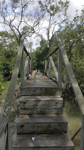 tangga buatan di tengah jembatan kayu