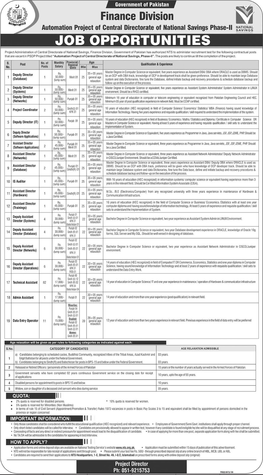 National Saving Jobs in Pakistan Finance Division Jobs