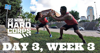 Day 3 Week Three 22 Minute Hard Corps Challenge - Cardio 2 and Core 1 Workout - Sandbag Workout - Coach Summit 2016 Nashville