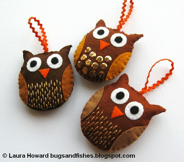 Top Bugs and Fishes by Lupin: How To: Felt Owl Ornaments JS83