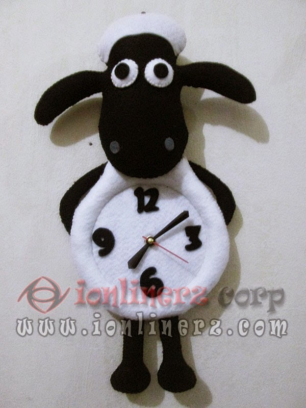 Jam Dinding Flanel Karakter Boneka Shaun The Sheep