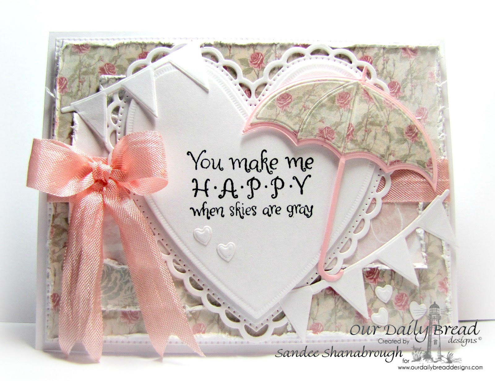Stamps - Our Daily Bread Designs April Showers, ODBD Custom Dies: Umbrellas, Ornate Hearts, Pennant Row, Flourished Star Pattern, ODBD Shabby Rose Paper Collection