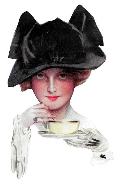 harrison fisher illustration woman tea black hat gloves painting