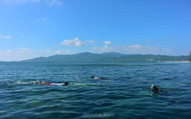 Aktivitas snorkeling di dekat pulau Menjangan Besar