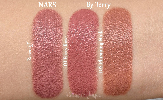 By Terry Rouge Terrybly Lipstick 101 Flirty Rose 103 Plumping Nude Swatches