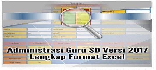 Form Administrasi Guru SD Versi 2017 Lengkap Format Excel