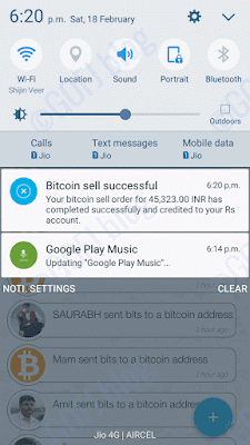 Zebpay bitcoin sold notification