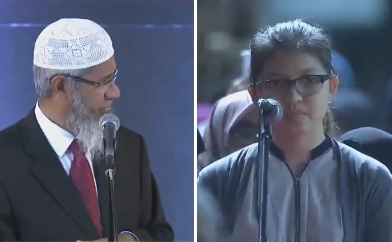 Lia bertanya kepada Dr Zakir Naik di Stadion Patriot Bekasi, Sabtu (8/4/2017) malam