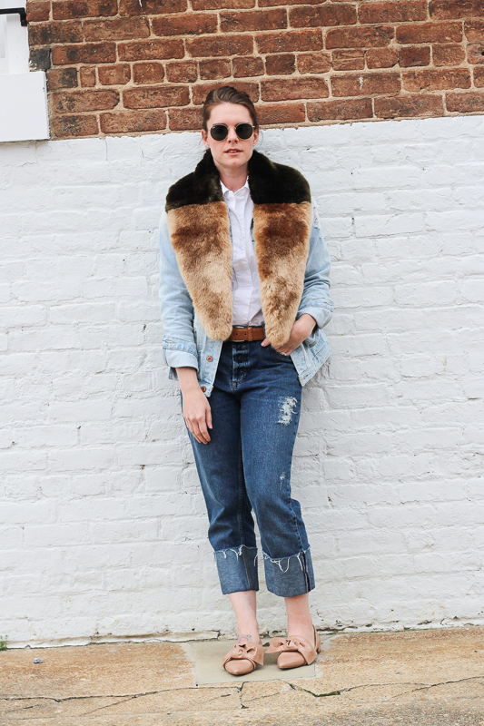 Faux fur and denim