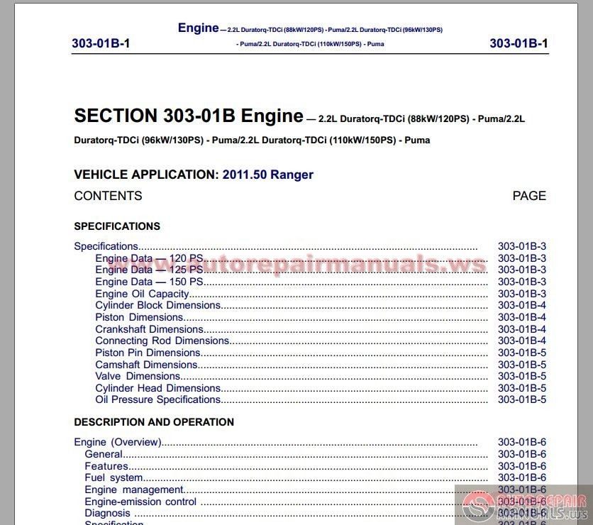 automotive manuals ford ranger  workshop manual