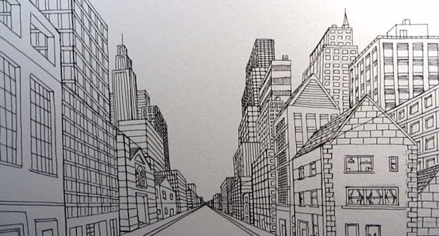 Cara Menggambar Kota Jalan di Satu Titik Perspektif