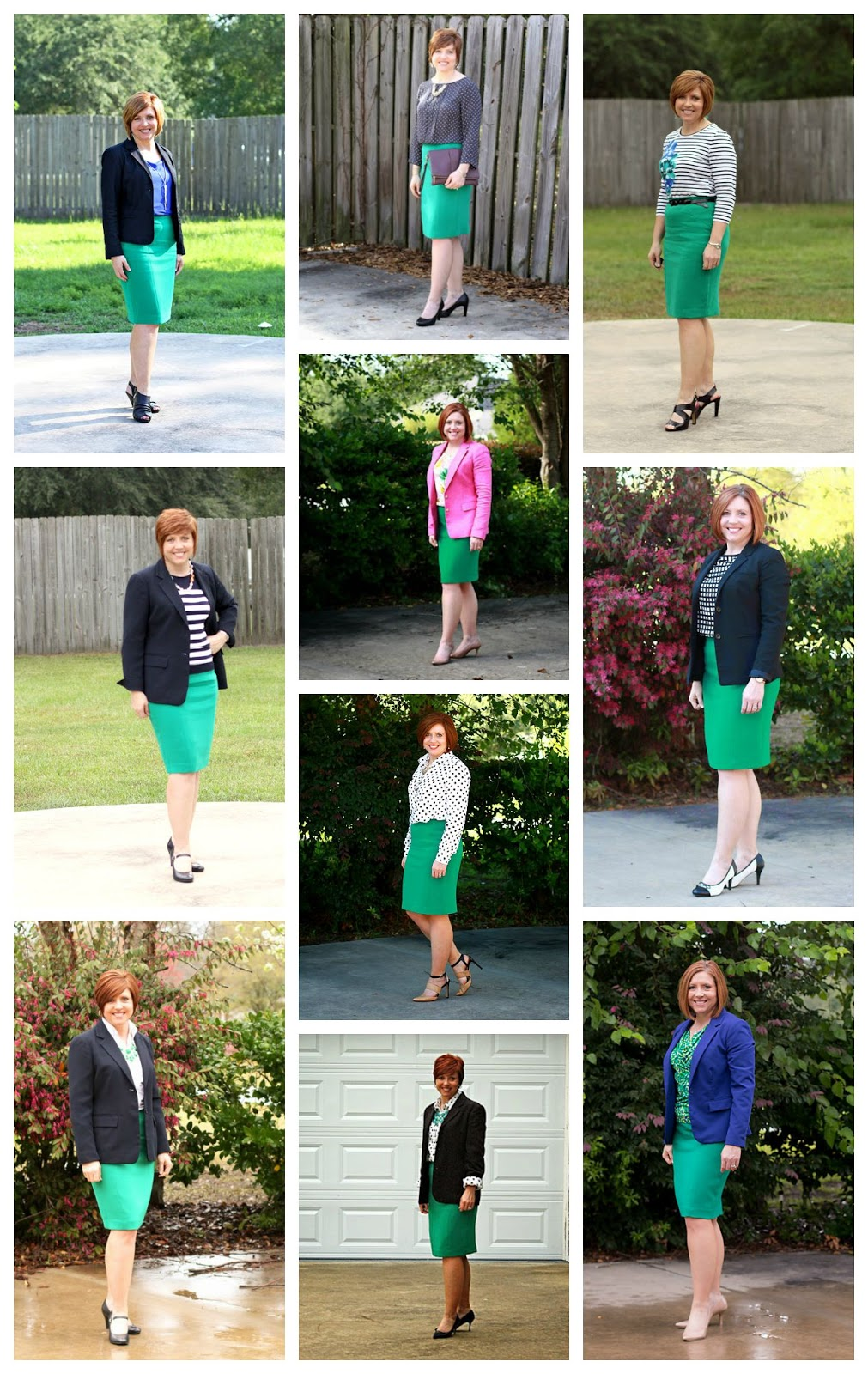 green pencil skirt styled 10 ways