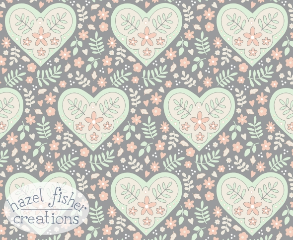 Spoonflower contest Limited Colour Palette Grey, Cream, Cucumber and Peach, surface pattern design by hazelfishercreations