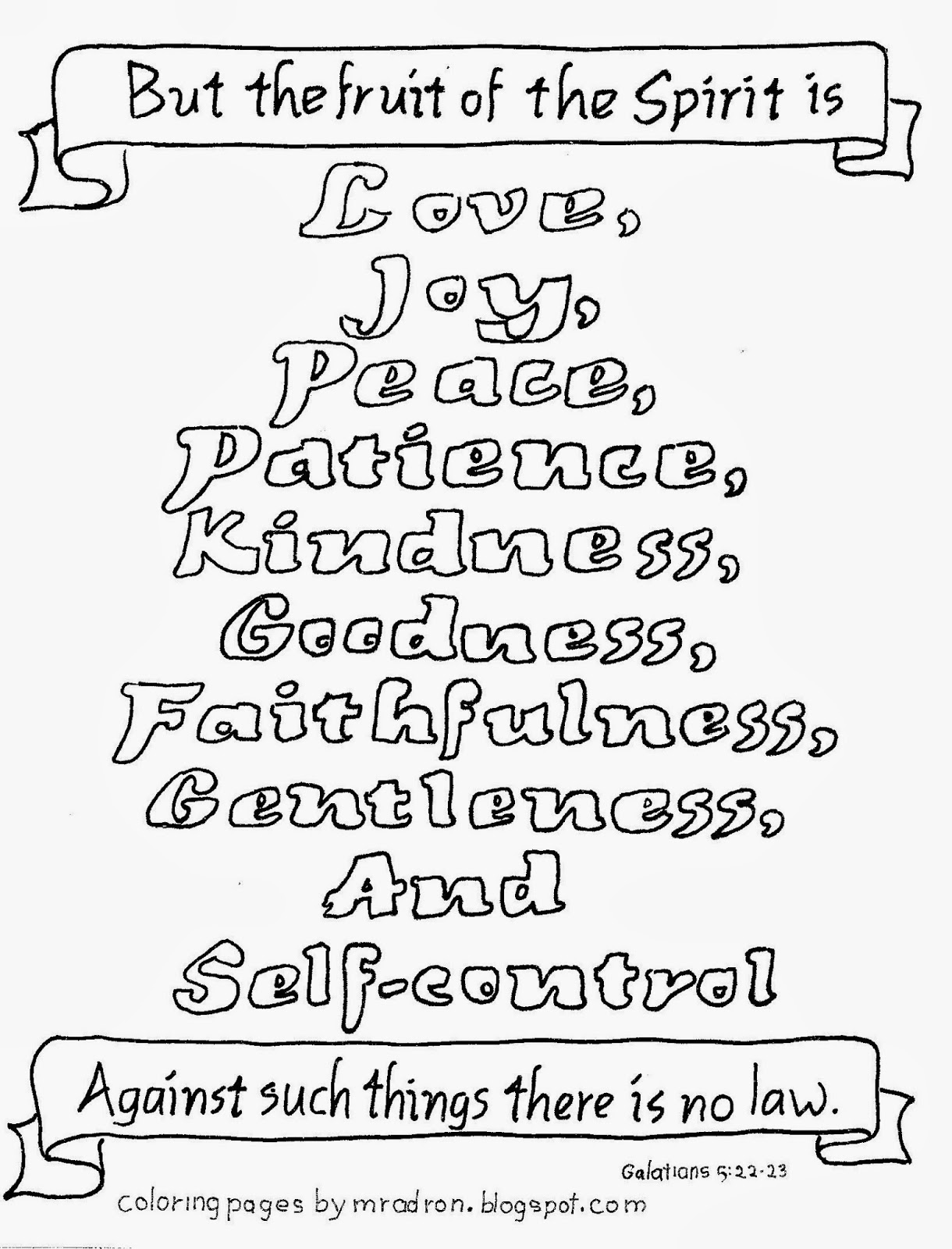 An illustration of Galatians 6:22-23 to print and color.