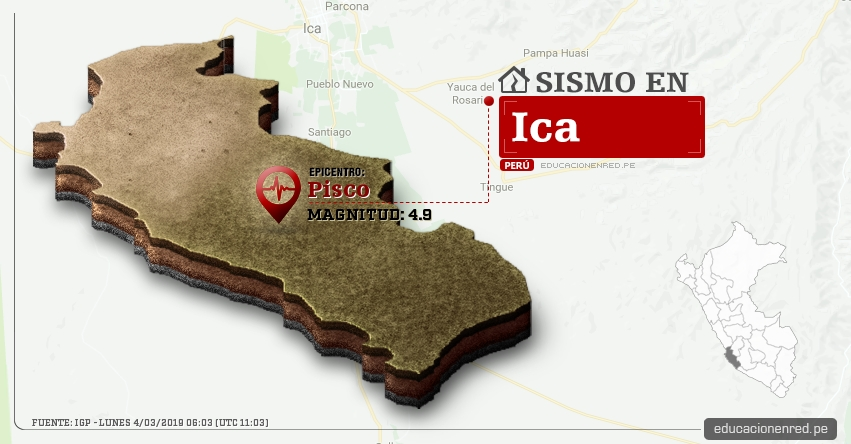 Temblor en Ica de Magnitud 4.9 (Hoy Lunes 4 Marzo 2019) Sismo Epicentro Pisco - Ica - Nazca - IGP - www.igp.gob.pe