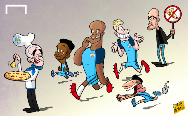 Ranieri, Raheem Sterling, Vincent Kompany, Aguero, Kevin De Bruyne, Guardiola cartoon