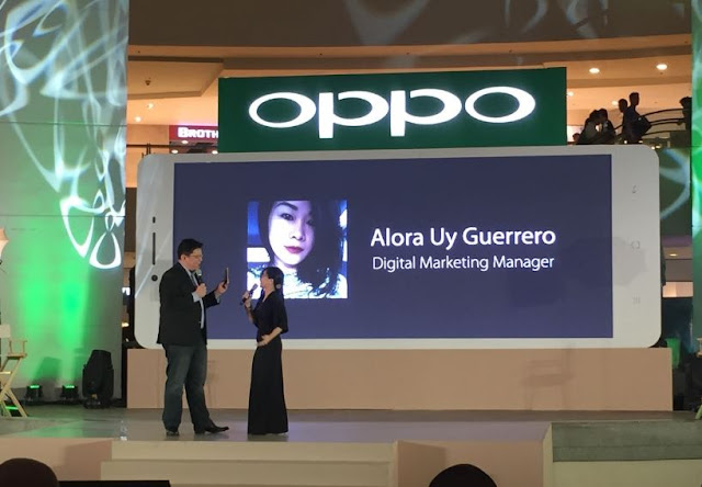 Ms. Alora Uy Guerrero, OPPO Philippines' Digital Marketing Manager, introduces OPPO F1.