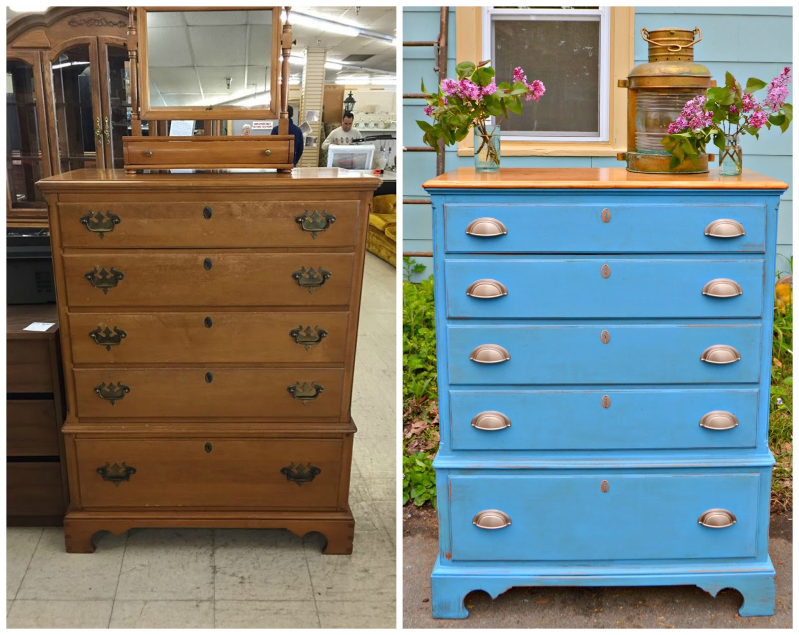 Heir and Space: A Vintage Maple Dresser in Blue