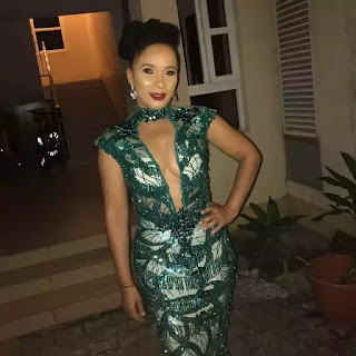 Ibinabo Fiberesima Steps Out In Cleavage-Baring Gown; Lady Criticises Her Outfit
