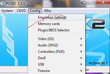 settings emoticon pcsx2