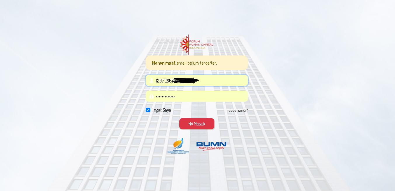 Anda Login dulu ke website rekrutbersama.fhcibumn.com dengan username dan password seperti yang anda daftar