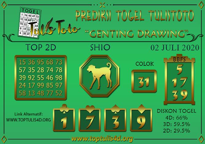 Prediksi Togel GENTING DRAWING TULISTOTO 02 JULI 2020