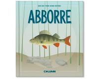 Omslag till Om en fisk som heter abborre. Bilden visar en tecknad abborre ner vid havsbottnen.