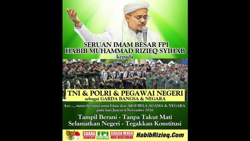 Habib Rizieq Syihab ajak PNS ikut demo Ahok 4 November