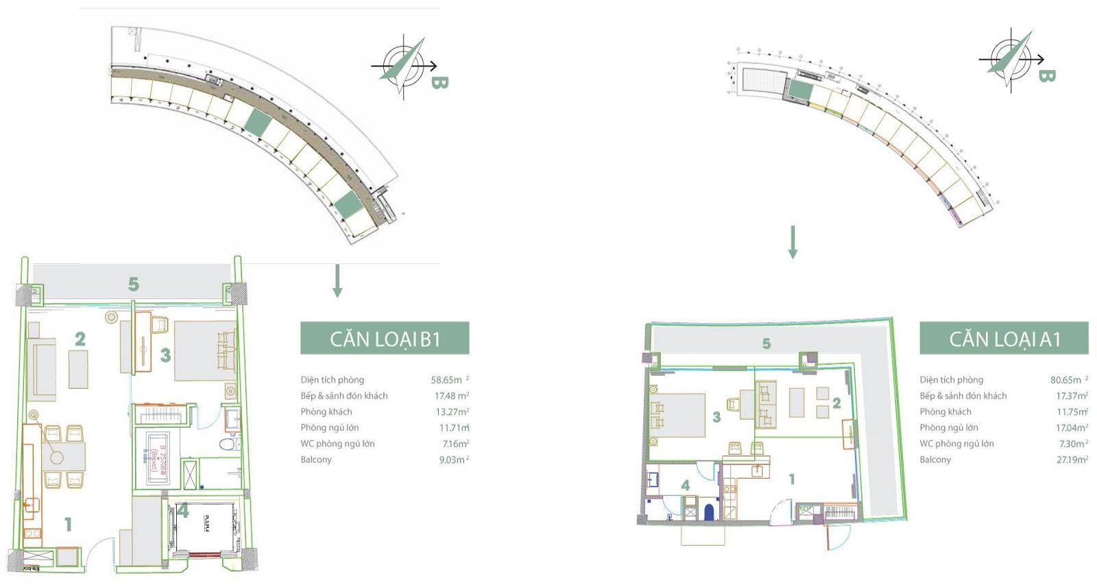 Mặt bằng thiết kế căn hộ loại A1 và B1 Condotel 7 tầng
