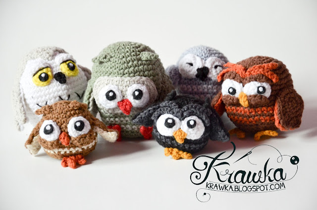 Krawka: Owlery crochet pattern, cute little owls bunch: Blacky, Dopey, Sleppy, Grumpy, Snowy and Bob owls