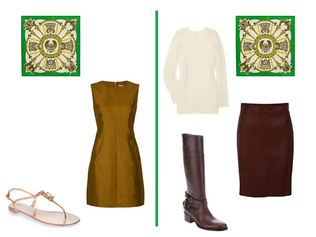 Two outfits - a dress, and a skirt and sweater - to wear with Hermes silk scarf Egypte in bright green