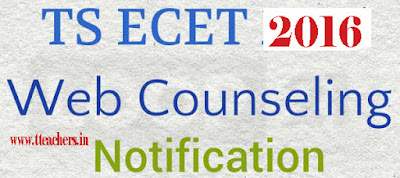 TSECET Counselling 2016 Dates Web Options Entry seat allotment order