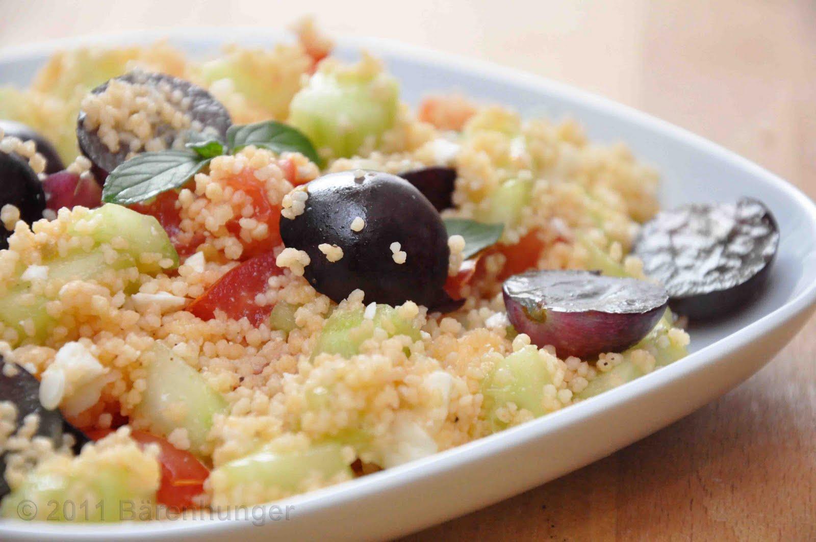 couscous salat mit trauben feta und minze b renhunger. Black Bedroom Furniture Sets. Home Design Ideas