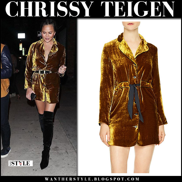 Chrissy Teigen in ochre gold velvet mini dress sandro and black boots stella luna night out outfit date style october 22 2017