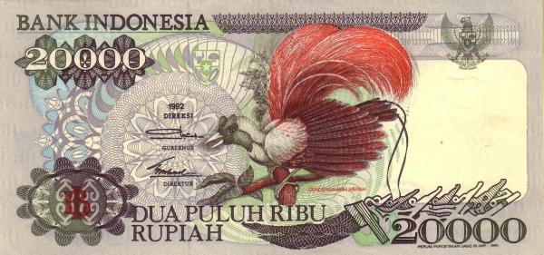 20 ribu rupiah 1992 depan