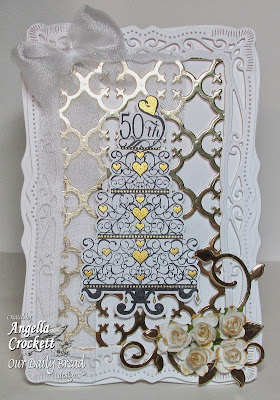 "ODBD ""Anniversary Blessings"", Quatrefoil Pattern Die, Fancy Foliage Dies, Card Created by Angie Crockett"