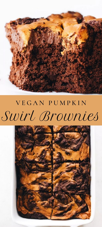 Vegan Pumpkin Swirl Brownies