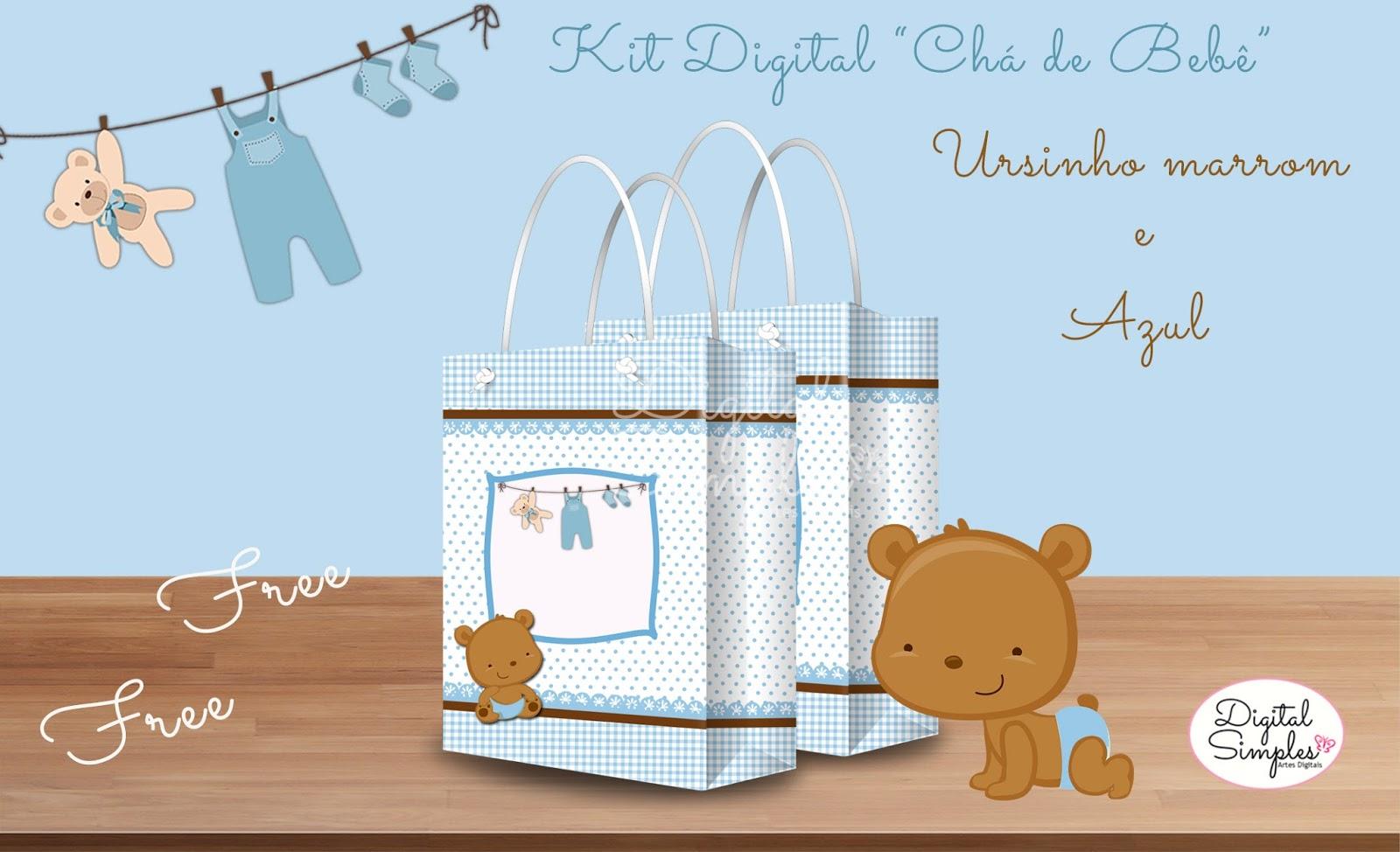 Kit Artes Digitais Ursinho Azul E Marrom Para Imprimir