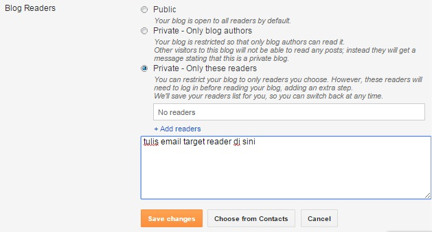 cara membatasi akses blog