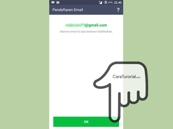 Alamat email berhasil didaftarkan ke akun LINE