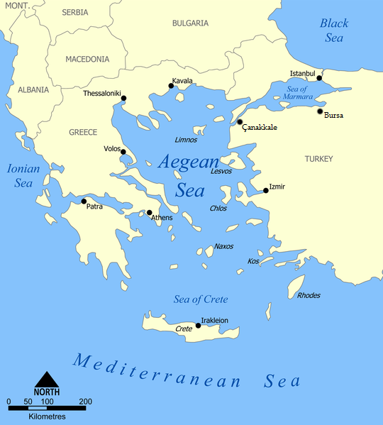Aegean Sea Greece Map Created by Norman Einstein, January 12, 2006.