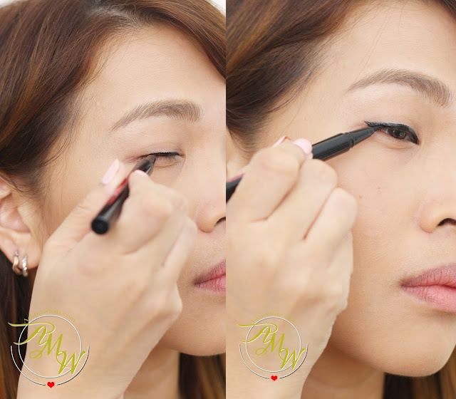 a photo on how to apply Cathy Doll Shocking Black Liner 24H