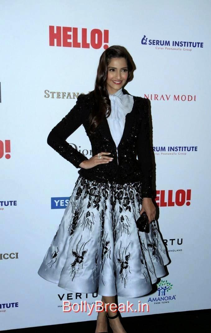 Sonam Kapoor Stills, Sonam Kapoor Hot Pics in Black & White Skirt from Hall Of Fame Awards 2014