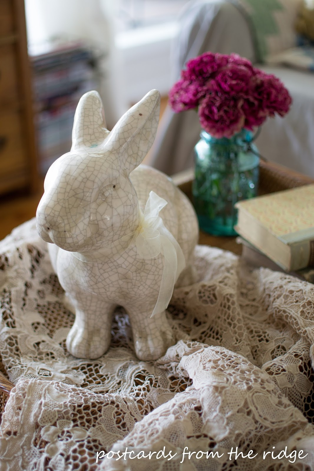 crackled bunny and vintage lace