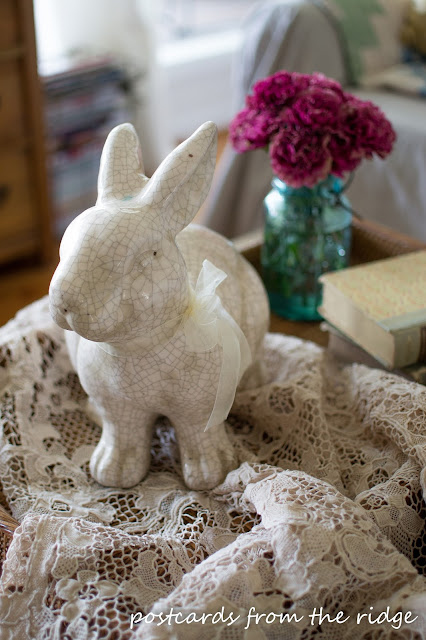 Vintage Venetian Lace and Bunny. Cottage Style Spring Decor. ~ Postcards from the Ridge