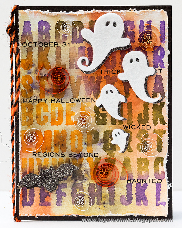 Layers of ink - Friendly Ghost Card with Quilling Tutorial by Anna-Karin