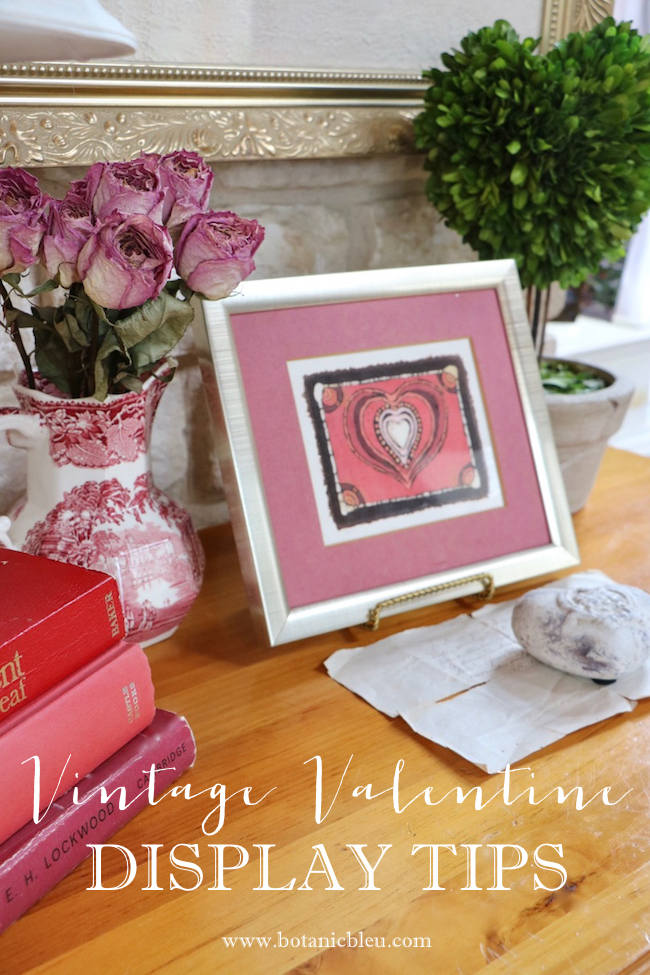 Vintage Valentines display tips with framed batik fabric heart made by Austin Texas street vendor in 1970s